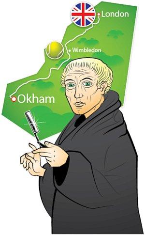 map showing Ockham to London