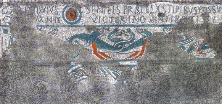 Sea monsters depicted in a fourth century mosaic at Lydney