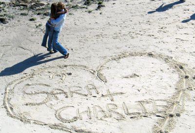 love heart names sand