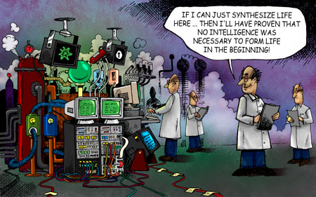 Cartoon of a scientist working on a machine to synthesize life.