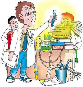 Cartoon of creating life in a lab, which would take incredible intelligence from the scientist.