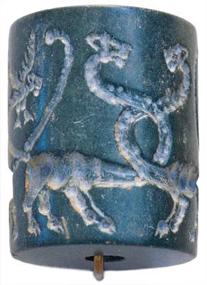 Ancien sceau cylindrique de Mésopotamie