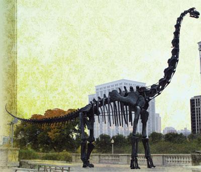Squelette en bronze d'un brachiosaure à l'extérieur du Muséum d'histoire naturelle de Chicago, É.-U.