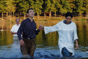 Dr Liu's baptism in September 1998.