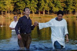 Dr Liu's baptism in September 1998.