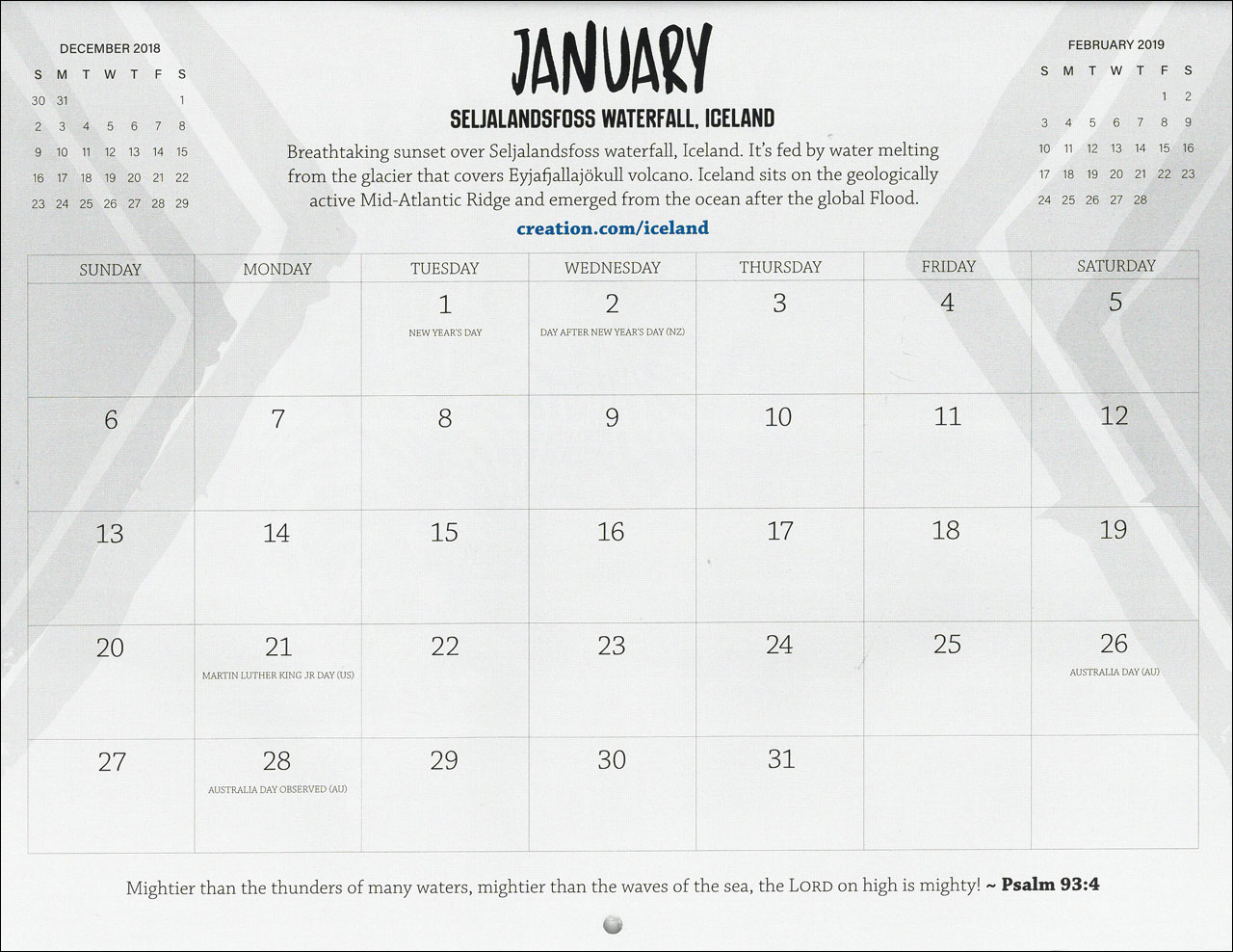 Month of January 2019 calendar